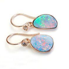 Opal Earrings Opal Diamond Earrings Australian Opal by NIXIN, $535.00