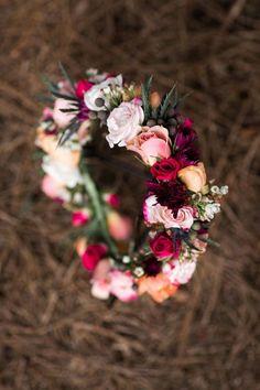 Steal-worthy jewel toned flower crown #cedarwoodweddings Passion Fruit & Berries :: Courtney+Jason | Cedarwood Weddings