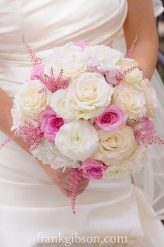 White garden roses, white ranunculus, pink akito roses, white hydrangeas, pink stilbe.