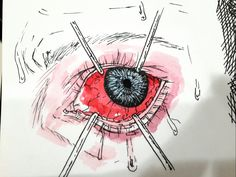 """ink-and-papers: """" Inktober day 2 Goretober: 2. Eye trauma Artline pen and watercolour. """""""