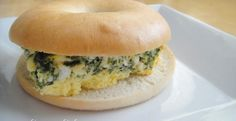 spinach and feta oven omelet breakfast bagel sandwich