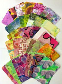 3x4 Journal Spot Art Cards Gelli Prints