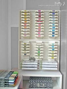 Bettys Crafts: Aufbewahrung für Stempelkissen - how to make this ink storage cabinet + video (use Google Translate)