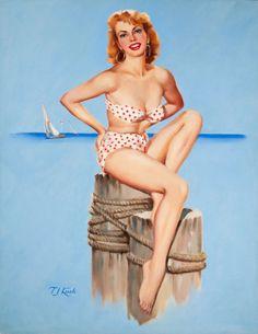 (Ted) Kuck - Blonde Pin-Up in a Red Polka Dot Bikini, Brown & Bigelow calendar illustration Pin Up Pictures, Girl In Water, Retro Photography, Calendar Girls, Girls Series, Polka Dot Bikini, Pin Up Art, Swimsuits, Bikinis
