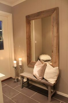 DIY wood bench and framed mirror for a simple 'spot' :)