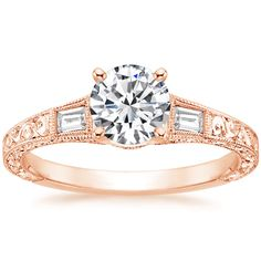 This ring but with the acsher or emerald cut!! 14K Rose Gold Regalia Diamond Ring from Brilliant Earth