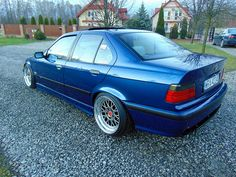 Avus blue BMW e36 sedan on cult classic Mille Miglia MM2000 wheels