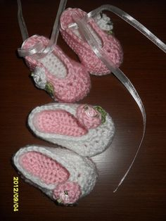 Hand crocheted ballerina slippers for baby girls by MadebyMily, $12.00