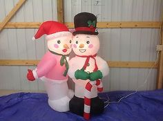 Gemmy+PROTOTYPE+Airblown+Inflatable+Christmas+Snowman+Couple+#+86006