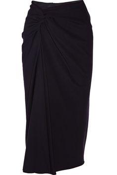 Lanvin | Draped wool-crepe midi skirt | NET-A-PORTER.COM