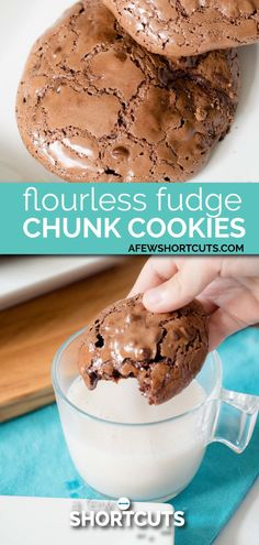 Flourless Fudge Chunk Cookies - These are possibly the best gluten free dairy free cookies of all time. You have to try this Flourless Fudge Chunk Cookies Recipe == CLICK THROUGH TO SEE! Dairy Free Cookies, Gluten Free Sweets, Gluten Free Baking, Dairy Free Recipes, Keto Cookies, Wheat Free Baking, Dairy Free Fudge, Wheat Free Recipes, Almond Cookies