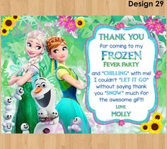 FROZEN FEVER Thank You Card Frozen Summer by KidsPartyPrintables