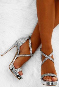 d65e0327f1f6 Party Queen Silver Glitter Platform Heels  Promshoes Silver Glitter Heels