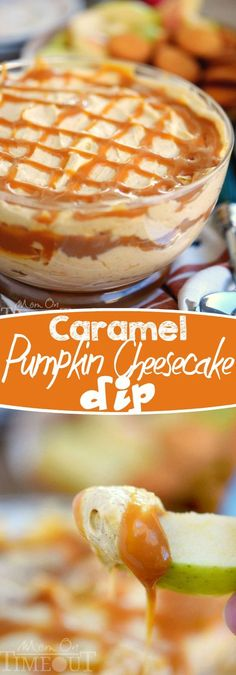 This easy to make, over the top Caramel Pumpkin Cheesecake Dip will have everyone coming back for seconds! The perfect dessert or appetizer for fall! // Mom On Timeout desserts Low Carb Dessert, Dessert Dips, Dessert Party, Dessert Recipes, Dessert Table, Fall Desserts, Delicious Desserts, Yummy Food, Desserts Caramel