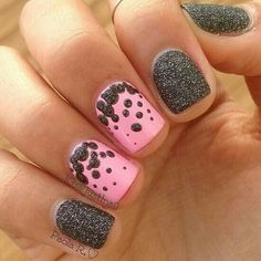 Easy nail art for short nails using textured liquid sand polish. Use a bobby pin or dotting tool to achieve the dots
