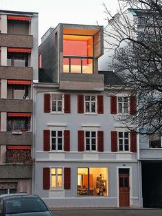 This is pinned because it's SO not right.Anarchitekton - House in St. Colour Architecture, Architecture Old, Contemporary Architecture, Old Buildings, Modern Buildings, Pent House, My House, Switzerland Cities, Corner House
