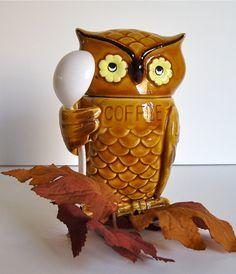Ceramic Owl Coffee Container
