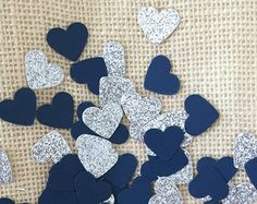 Navy and Silver Glitter Heart Confetti, Wedding Decor, Bridal Shower, Baby Shower, Navy Decorations, Table Decor, Invitation Stuffer