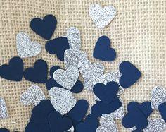 Navy and Silver Glitter Heart Confetti, Wedding Decor, Bridal Shower, Baby Shower, Navy Decorations, Table Decor, Invitation Stuffer
