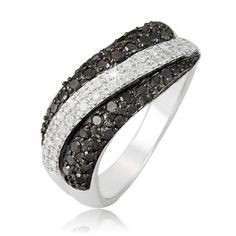 $99.99 - 0.65 Carat Black and White Diamond and Sterling Silver Wave Design Ring