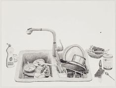 Love these drawings of Joan Linder's kitchen sink. joan linder via: arthound Sketch Painting, Artist Painting, Sink Drawing, Frankie Magazine, Observational Drawing, Sketchbook Drawings, Sketches, Diy Kitchen Remodel, Art Prompts