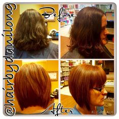 Red hair color makeover. A-line haircut Orem, UT