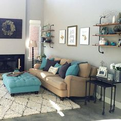 Grey Living Room Inspiration | Tan and Grey | Grey and Turquoise | Pipe Shelving | West Elm | Magnolia Market || Nestingonoleander.com