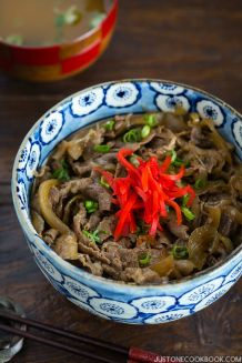 Yoshinoya Beef Bowl Gyudon - Savory and juicy sliced beef served over steamed rice this popular Japanese rice bowl is a weeknight meal keeper Easy Japanese Recipes at Easy Japanese Recipes, Asian Recipes, Beef Recipes, Cooking Recipes, Meatball Recipes, Noodle Recipes, Cooking Tips, Ethnic Recipes, Healthy Recipes