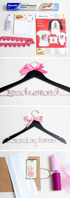 Bride hangers diy. Or our names. Yours could say mrs. Riveroll :)