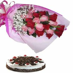 The gorgeous 10 red and pink roses wrapped with pink cellophone paper and half kg delicious black forest cake. #SendingFlowersOnline