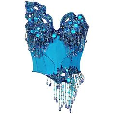 A true miracle — vintage couture Thierry Mugler corset with a posh voluminous crystals, paillettes and beads embroidery. The corset is made of turquois silk with rich blue lining. Couture Mode, Style Couture, Couture Fashion, Steampunk Fashion, Gothic Fashion, Stage Outfits, Kpop Outfits, Fashion Outfits, Womens Fashion