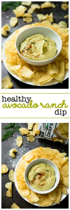 Healthy Avocado Ranch Dip – The perfect recipe for chip dippin'! Creamy avocado, fresh dill, a hint of vinegar and garlic… oh boy. It's the best. AD
