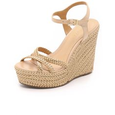 Schutz Monicah Wedge Sandals ($240) ❤ liked on Polyvore featuring shoes, sandals, lightwood, schutz sandals, metallic sandals, metallic wedge sandals, wedges shoes and woven-leather shoes