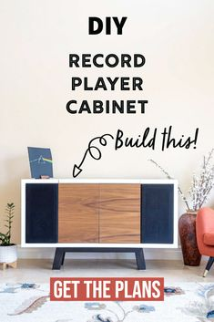 This DIY record player stand will blow your mind! It has storage for records and even space for the speakers. Get the step-by step tutorial, printable woodworking plans and watch the full video! #anikasdiylife Kreg Jig Projects, Scrap Wood Projects, Diy Furniture Projects, Easy Diy Projects, Project Ideas, Woodworking Projects That Sell, Beginner Woodworking Projects, Diy Woodworking, Record Player Stand