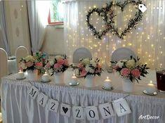 Dekoracja sali Wedding Groom, Wedding Table, Wedding Stage Decorations, Table Decorations, Wedding Bouquets, Wedding Flowers, Weeding, Newlyweds, Floral Arrangements
