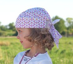 Girl Do rag bandana summer headscarf white and pink by Lupeworks, $16.00
