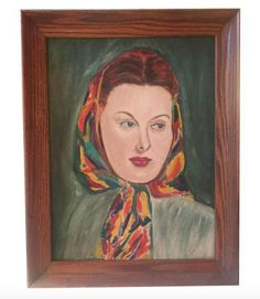 Mid Century Oil - Portrait - Woman in Kerchief