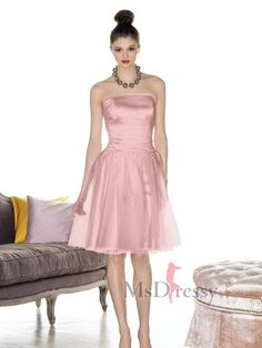 A-line Knee-length Strapless Tulle Bridesmaid Dress