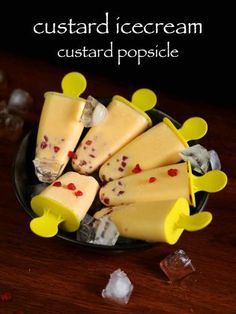 custard ice cream recipe, custard popsicle recipe, custard candy with step by step photo/video. creamy & rich custard flavored milk popsicle ideal for kids. Köstliche Desserts, Frozen Desserts, Delicious Desserts, Yummy Food, Custard Ice Cream Recipe, Custard Recipes, Custard Powder Recipes, Popsicle Recipes, Snack Recipes