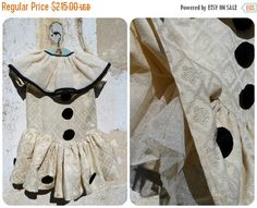 ON SALE 20% Made by me Costume inspired by 1920 French  Pierrot costume disguise size 4/6 years / cream damask fabric /net large collar coll