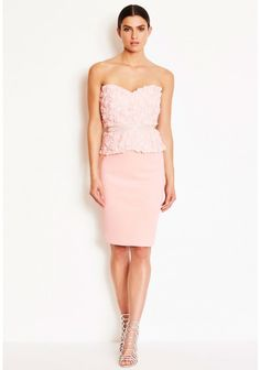Bethany Blush Rose Applique Bandeau Midi Dress