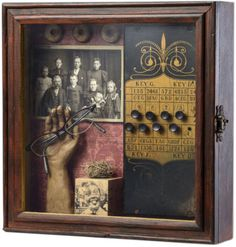 "The Joseph Cornell Box http://www.josephcornellbox.com  Evidence, 2011 Susan McCarrell (South Okanagan, British Columbia) mixed media 12.3"" x 12.3"" x 3.2"" (31.2 x 31.2 x 8.1 cm) www.susanmccarrell.com susan-mccarrell.artistwebsites.com  In my exploration of art, I look for versatile solutions to all challenges that are presented. I am not drawn to any one formula."