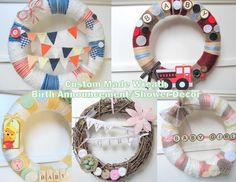 Custom Made Wreath Birth Announcement Baby Shower by April421, $50.00