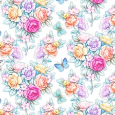 Seamless composition ` Beautiful July day`  by  Maria Rytova #pattern #textile #background #backing #paper #work #纹样  #арт #картинки #picture #decoupage #декупаж  #узоры  #wallpaper #design #卷草 #flower #图案 #фон #print #принт #printable #papel #ornament  #seamless  #luxury #surface #rose #floral #decorative #decor #vintage