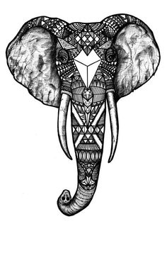 Pattern Elephant, Black and White, Black and White Digital Art Print of an Original Fine Art Line Drawing #buddha_elephant_tattoo