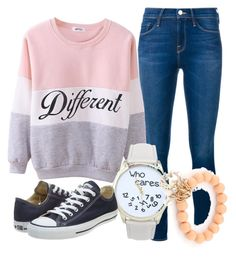 """Different then You"" by myfriendshop ❤ liked on Polyvore featuring moda, Frame Denim, Converse, women's clothing, women, female, woman, misses y juniors"