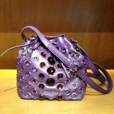 Oh, love! Crystal clutch by #MiuMiu #clutch #purple #studs #FolliFollie #FW14collection