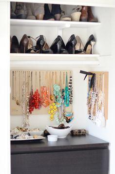 Closet Revamp - Merrick's Art. Great way to display jewelry.
