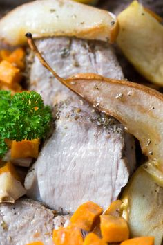ONE PAN ROASTED PORK WITH SWEET POTATO, PEAR, APPLE AND GARLIC