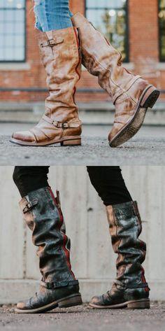 6da6d86f342 Shoespie Block Heel Buckle Round Toe Knee High Boots Vintage Shoes